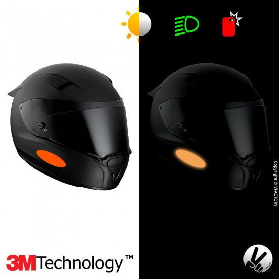 REFLECTIVE COLORS OVAL™ - Kit de 4 stickers dimension NF oranges rétro réfléchissants oranges pour casque - 3M Technology™