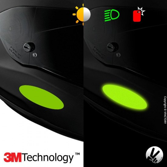 REFLECTIVE COLORS OVAL™ - Kit de 4 stickers dimension NF verts rétro réfléchissants verts pour casque - 3M Technology™
