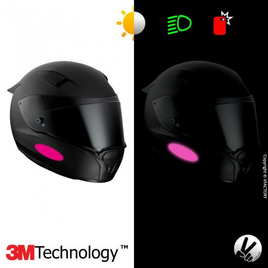 REFLECTIVE COLORS OVAL™ - Kit de 4 stickers dimension NF roses rétro réfléchissants roses pour casque - 3M Technology™