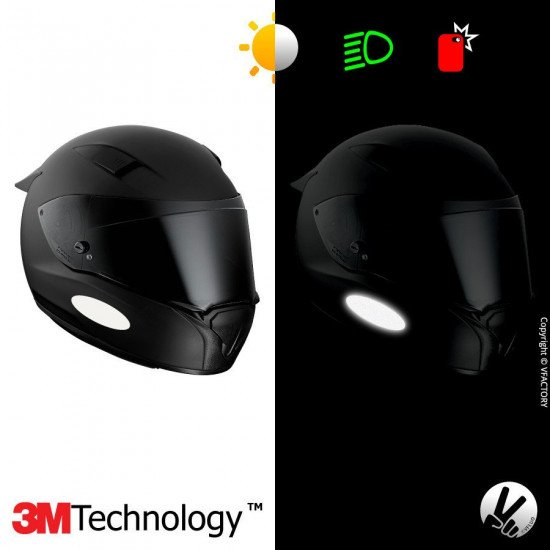 REFLECTIVE COLORS OVAL™ - Kit de 4 stickers dimension NF blancs rétro réfléchissants blancs pour casque - 3M Technology™