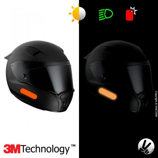 REFLECTIVE COLORS STANDARD™ - Kit de 4 stickers dimension NF oranges rétro réfléchissants oranges pour casque - 3M Technology™
