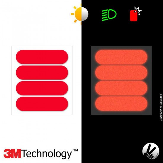 REFLECTIVE COLORS STANDARD™ - Kit de 4 stickers dimension NF rouges rétro réfléchissants rouges pour casque - 3M Technology™