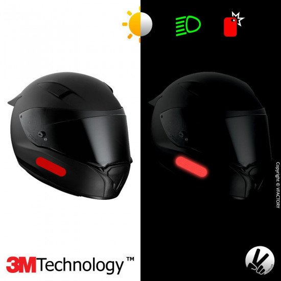 REFLECTIVE COLORS STANDARD™ - Kit de 4 stickers dimension NF rouges rubis rétro réfléchissants rouges pour casque - 3M Technolog