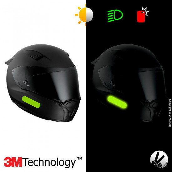 REFLECTIVE COLORS STANDARD™ - Kit de 4 stickers dimension NF verts rétro réfléchissants verts pour casque - 3M Technology™