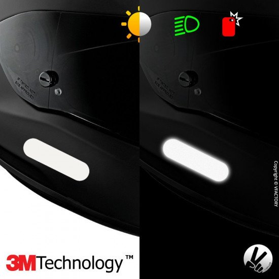 REFLECTIVE COLORS STANDARD™ - Kit de 4 stickers dimension NF blancs rétro réfléchissants blancs pour casque - 3M Technology™