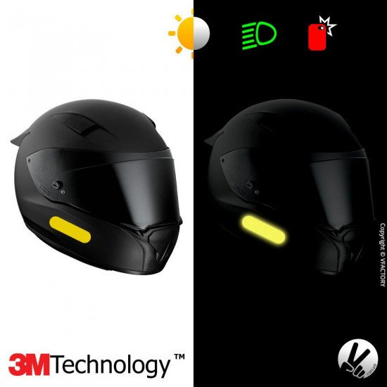 REFLECTIVE COLORS STANDARD™ - Kit de 4 stickers dimension NF jaunes rétro réfléchissants jaunes pour casque - 3M Technology™